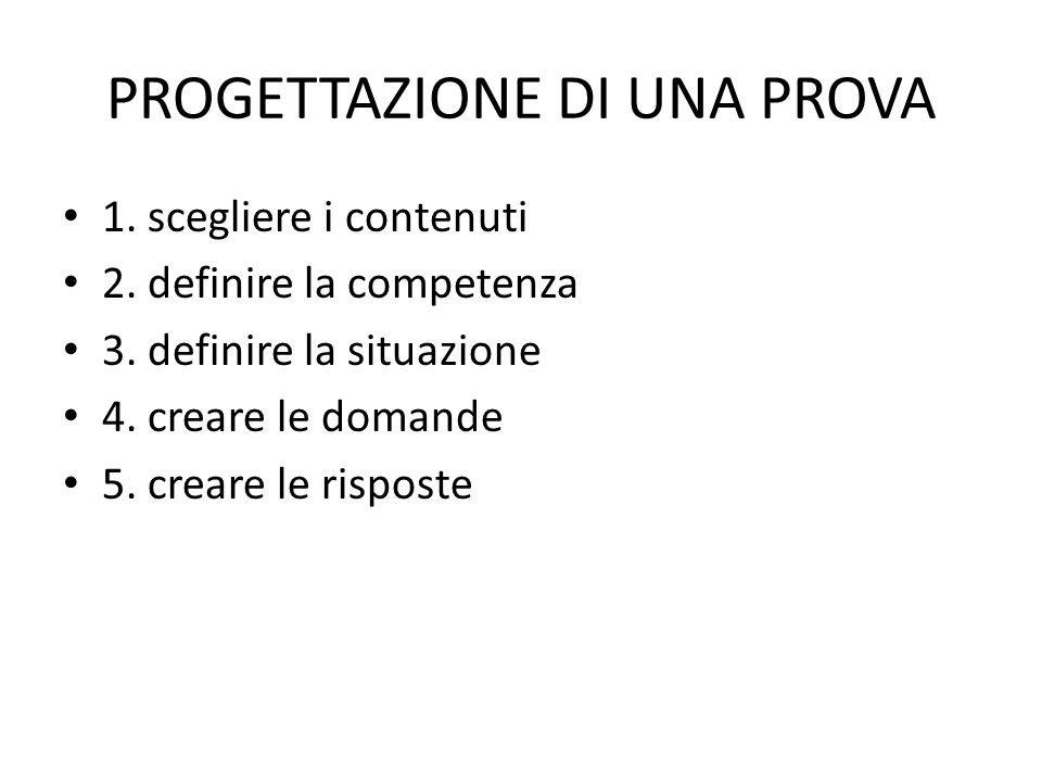 PROGETTAZIONE DI UNA PROVA 1.scegliere i contenuti 2.