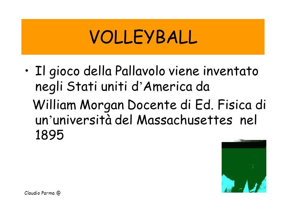 VOLLEYBALL Il gioco della Pallavolo viene inventato negli Stati uniti d ' America da William Morgan Docente di Ed. Fisica di un ' università del Massa