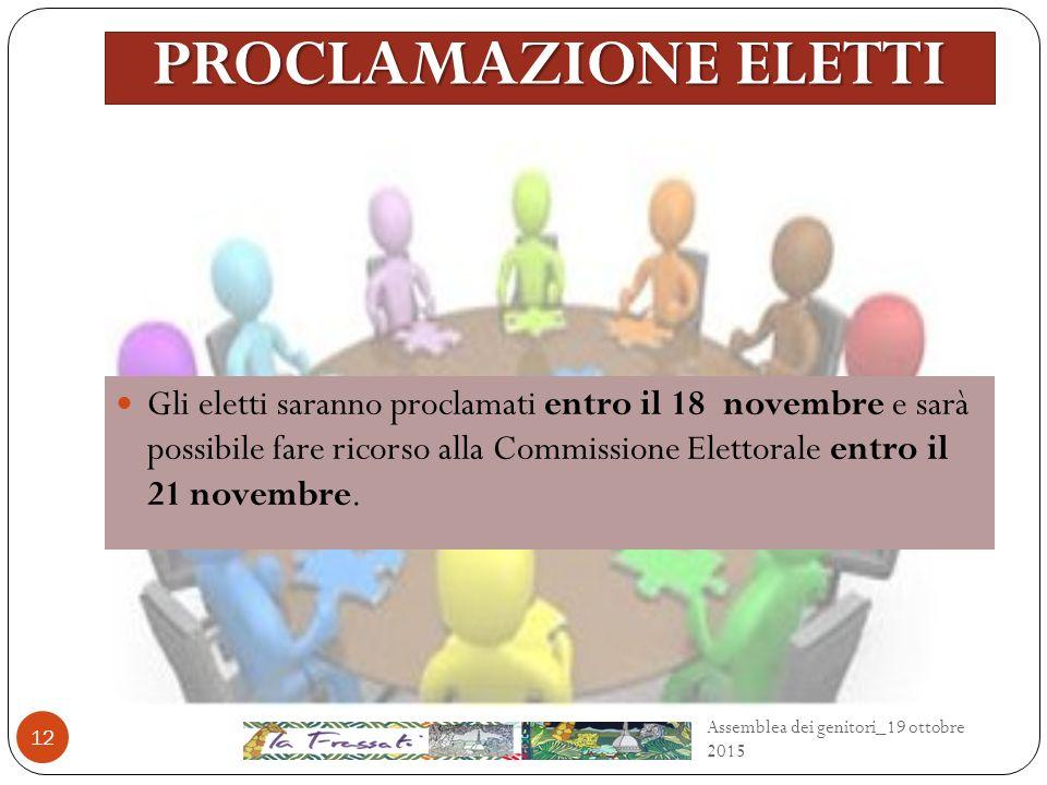 PROCLAMAZIONE ELETTI Gli eletti saranno proclamati entro il 18 novembre e sarà possibile fare ricorso alla Commissione Elettorale entro il 21 novembre.