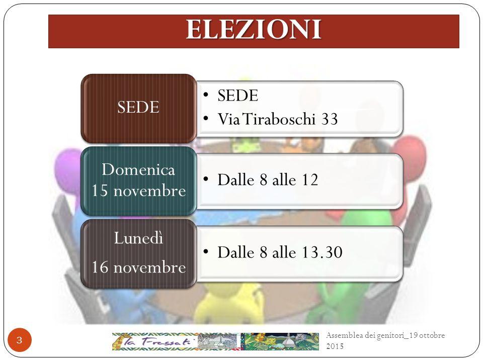 ELEZIONI 3 SEDE Via Tiraboschi 33 SEDE Dalle 8 alle 12 Domenica 15 novembre Dalle 8 alle 13.30 Lunedì 16 novembre