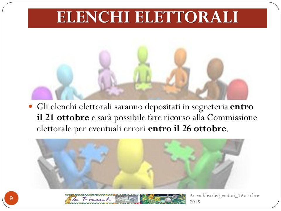 ELENCHI ELETTORALI Gli elenchi elettorali saranno depositati in segreteria entro il 21 ottobre e sarà possibile fare ricorso alla Commissione elettorale per eventuali errori entro il 26 ottobre.