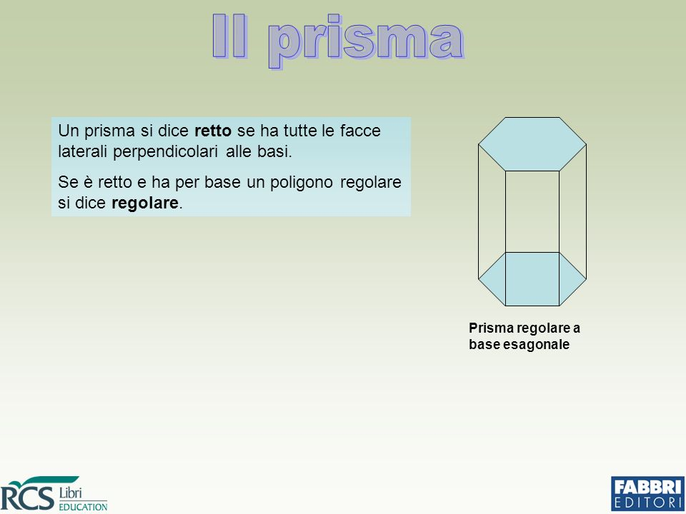Un prisma si dice retto se ha tutte le facce laterali perpendicolari alle basi.