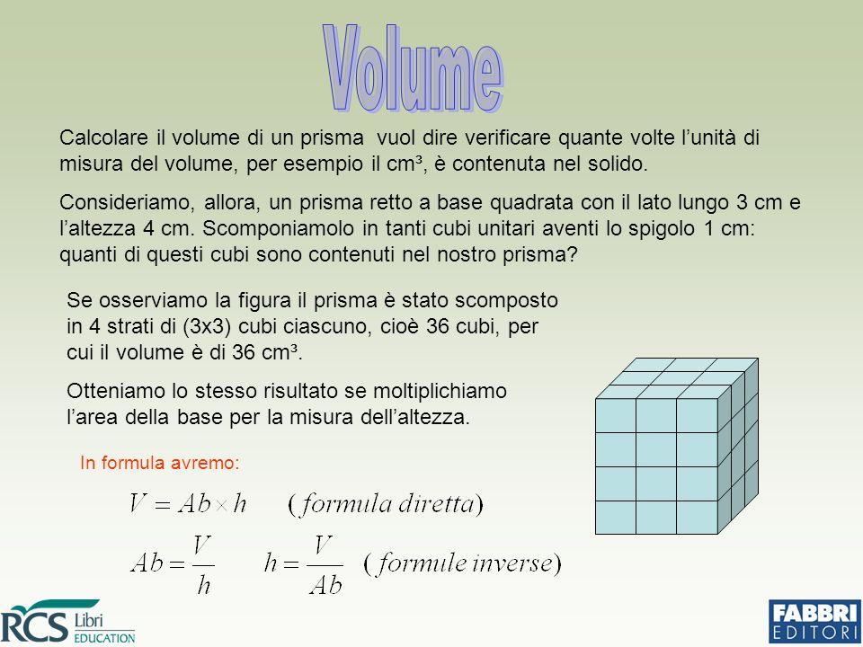 Calcolare il volume di un prisma vuol dire verificare quante volte l'unità di misura del volume, per esempio il cm³, è contenuta nel solido.