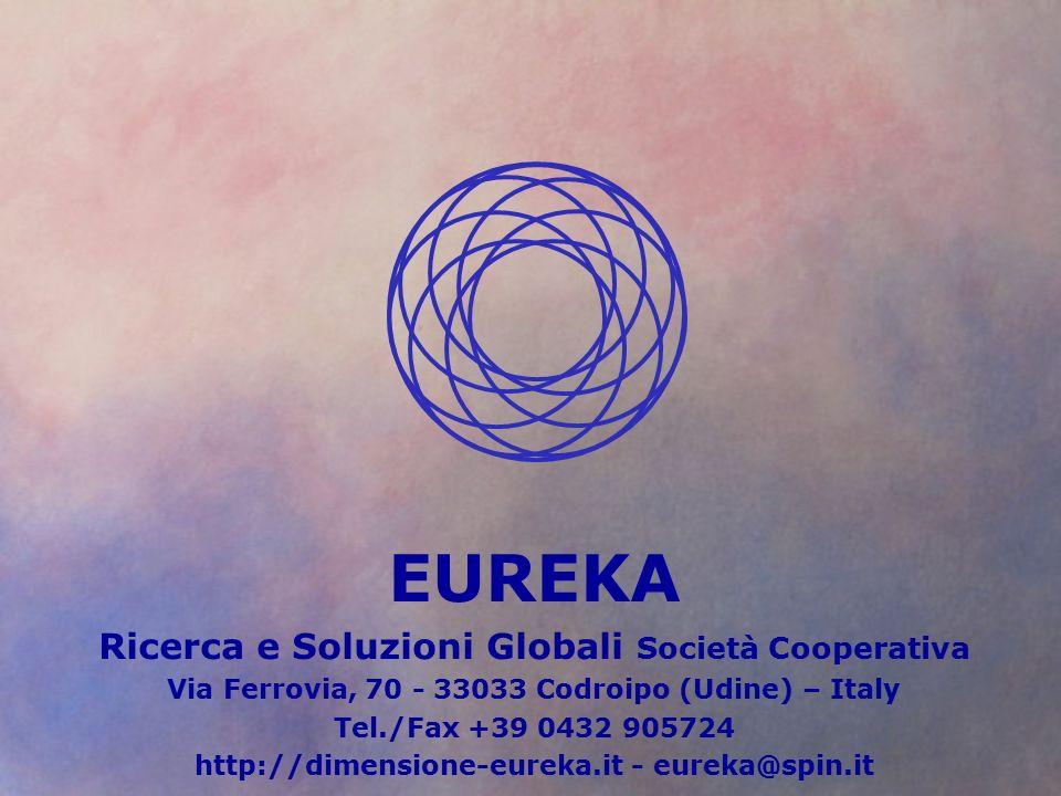 Ricerca e Soluzioni Globali Società Cooperativa Via Ferrovia, 70 - 33033 Codroipo (Udine) – Italy Tel./Fax +39 0432 905724 http://dimensione-eureka.it - eureka@spin.it
