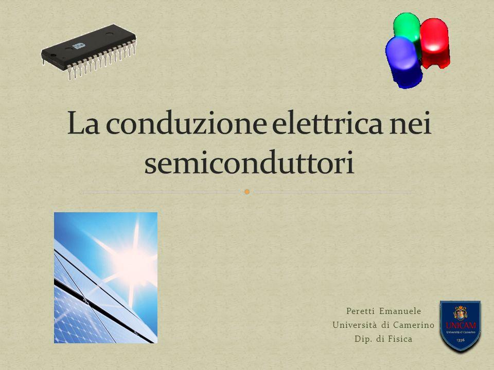 La conduzione elettrica nei semiconduttori 32 L esatta scelta dei semiconduttori determina la lunghezza d onda dell emissione di picco dei fotoni (il colore), l efficienza nella conversione elettro-ottica e quindi l intensità luminosa in uscita.