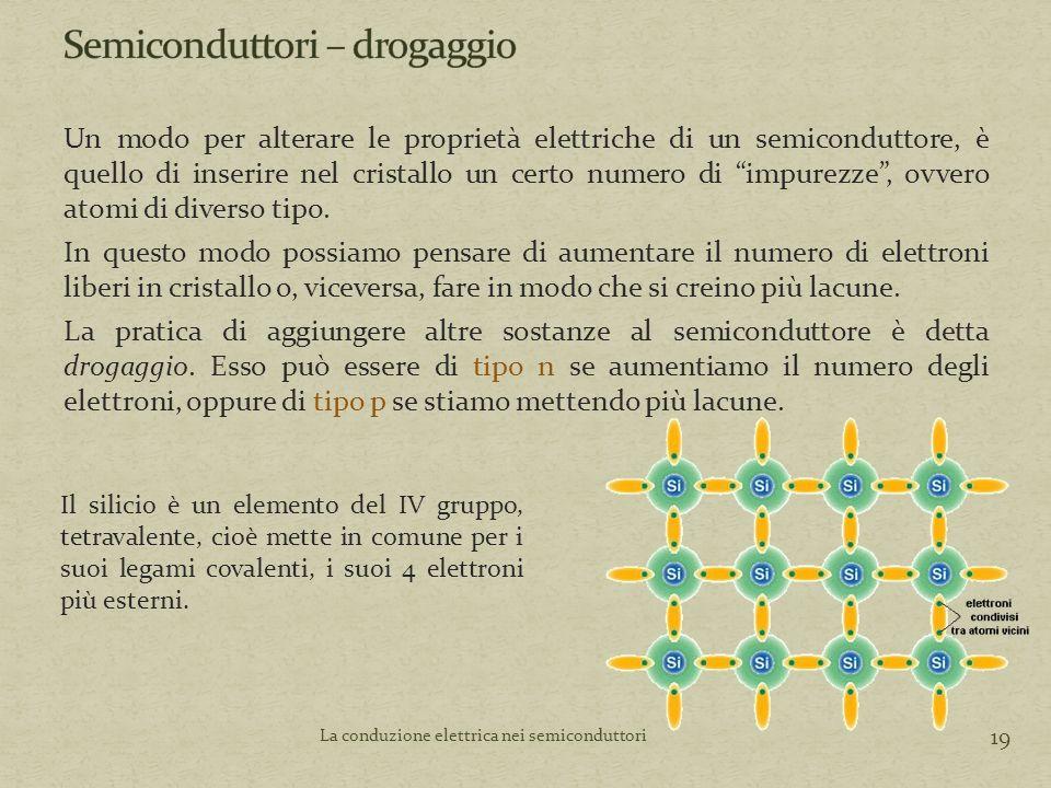 Un modo per alterare le proprietà elettriche di un semiconduttore, è quello di inserire nel cristallo un certo numero di impurezze , ovvero atomi di diverso tipo.