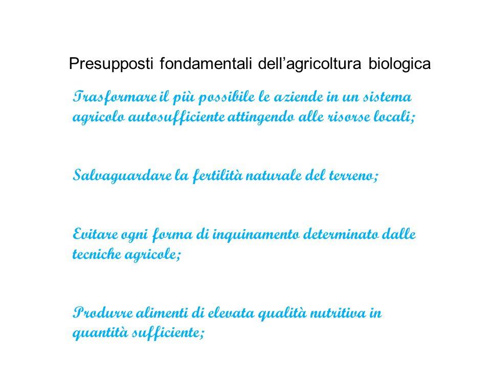 Presupposti fondamentali dell'agricoltura biologica Trasformare il più possibile le aziende in un sistema agricolo autosufficiente attingendo alle ris