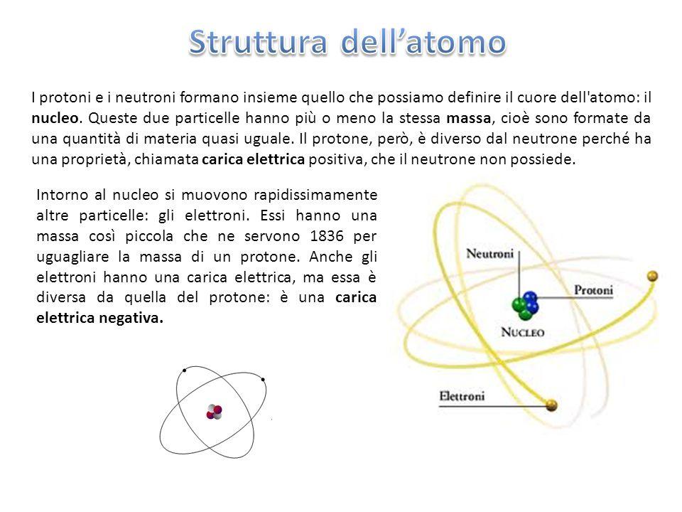 I protoni e i neutroni formano insieme quello che possiamo definire il cuore dell'atomo: il nucleo. Queste due particelle hanno più o meno la stessa m