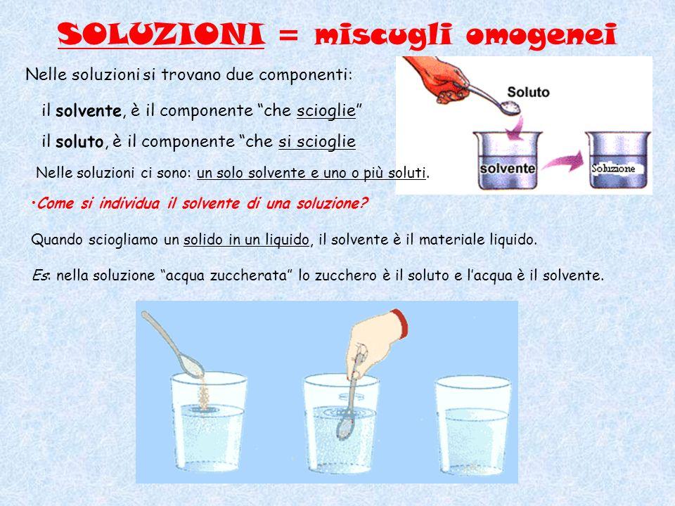 Mentre nelle soluzioni che hanno componenti liquidi o gassosi, il solvente è il componente presente in quantità maggiore.