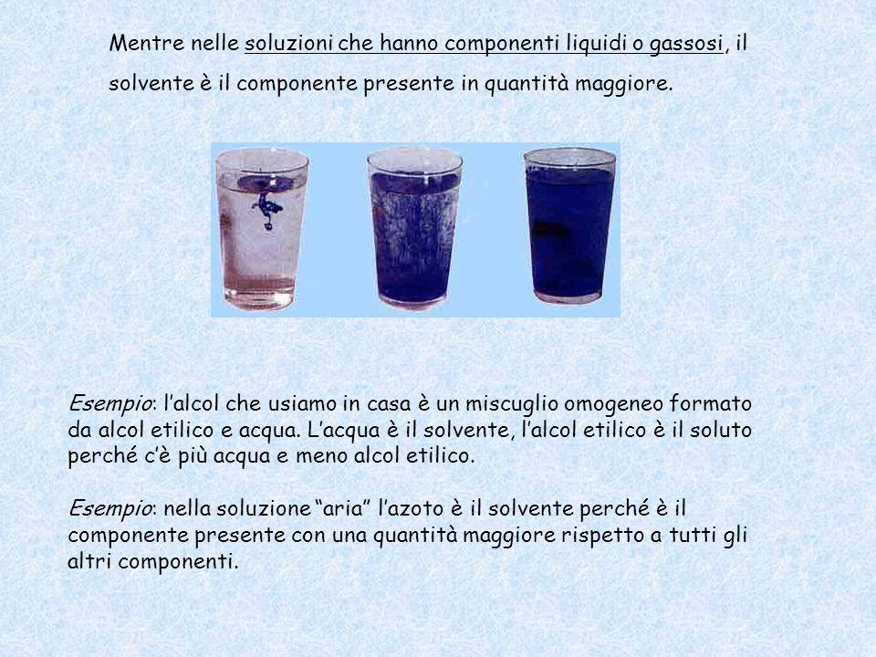 Mentre nelle soluzioni che hanno componenti liquidi o gassosi, il solvente è il componente presente in quantità maggiore. Esempio: l'alcol che usiamo