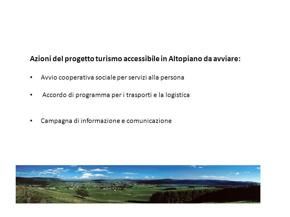 Azioni del progetto turismo accessibile in Altopiano da avviare: Avvio cooperativa sociale per servizi alla persona Accordo di programma per i trasporti e la logistica Campagna di informazione e comunicazione