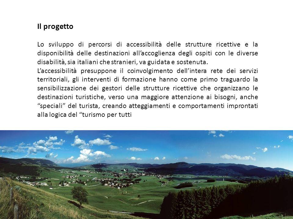 Il progetto Lo sviluppo di percorsi di accessibilità delle strutture ricettive e la disponibilità delle destinazioni all'accoglienza degli ospiti con le diverse disabilità, sia italiani che stranieri, va guidata e sostenuta.