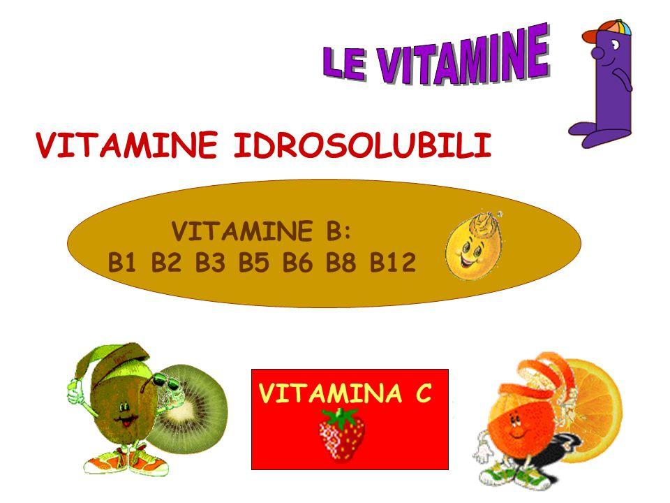 VITAMINE B: B1 B2 B3 B5 B6 B8 B12 VITAMINA C VITAMINE IDROSOLUBILI