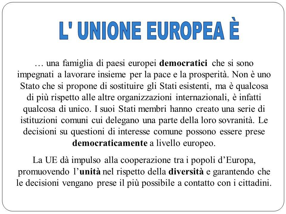 3 … una famiglia di paesi europei democratici che si sono impegnati a lavorare insieme per la pace e la prosperità. Non è uno Stato che si propone di