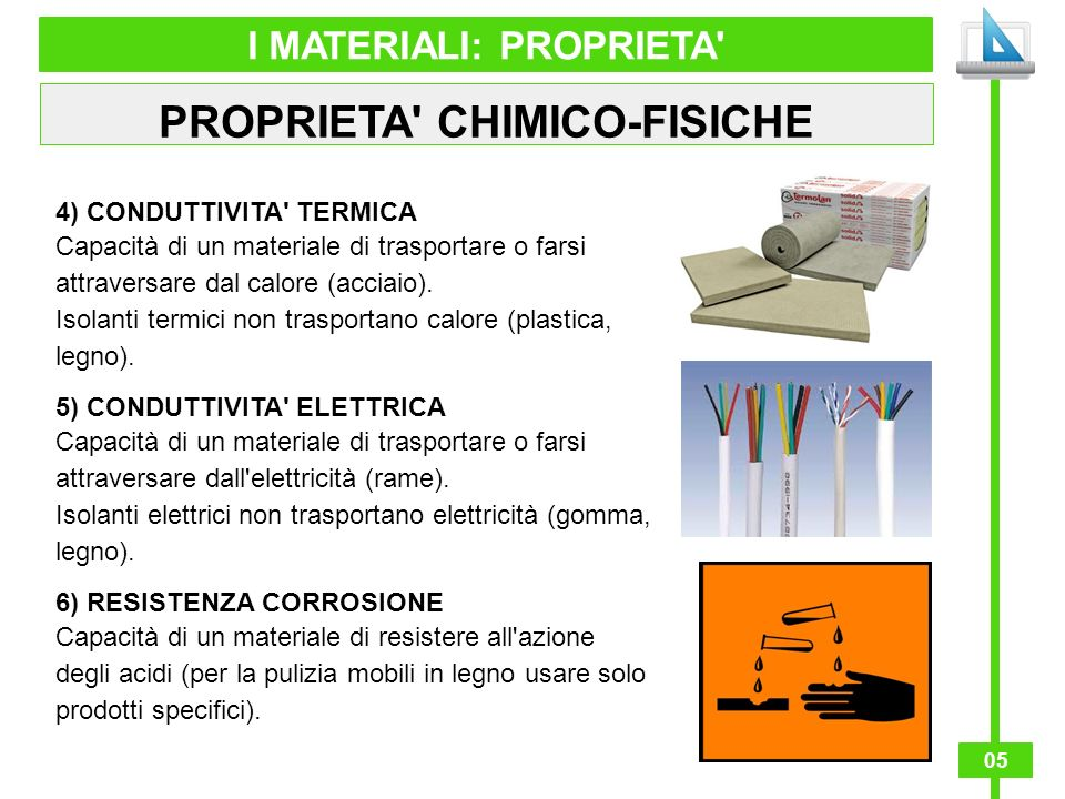 05 I MATERIALI: PROPRIETA' PROPRIETA' CHIMICO-FISICHE 4) CONDUTTIVITA' TERMICA Capacità di un materiale di trasportare o farsi attraversare dal calore