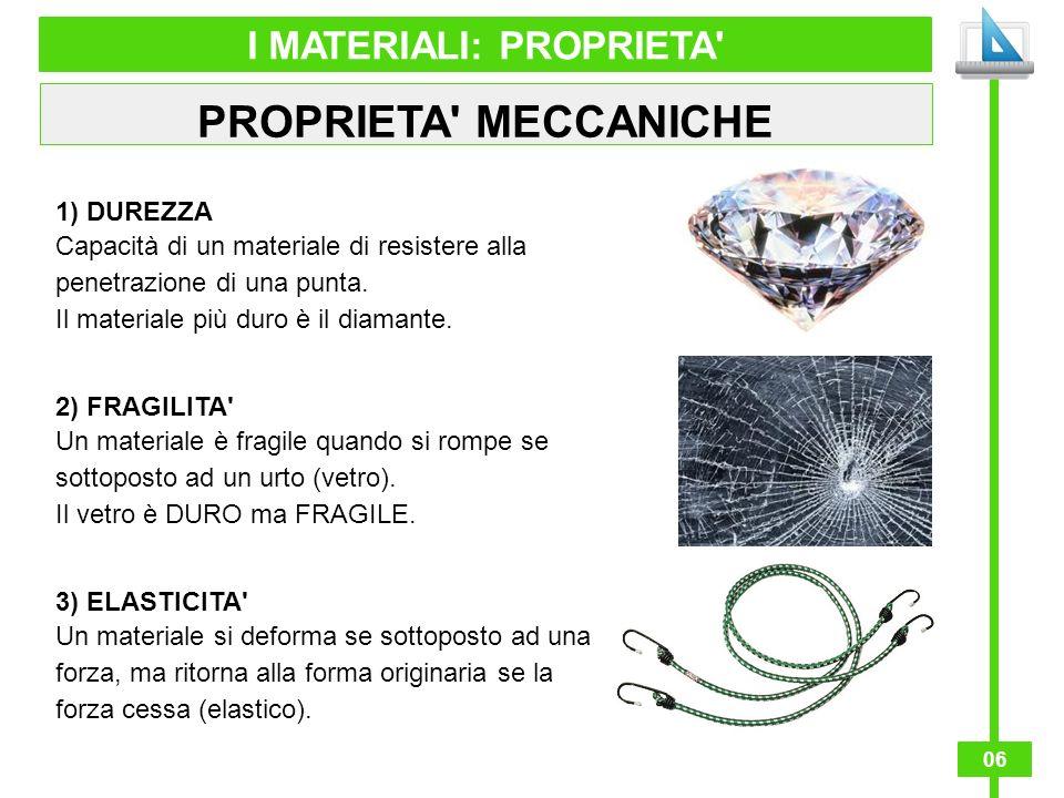 06 I MATERIALI: PROPRIETA' PROPRIETA' MECCANICHE 1) DUREZZA Capacità di un materiale di resistere alla penetrazione di una punta. Il materiale più dur