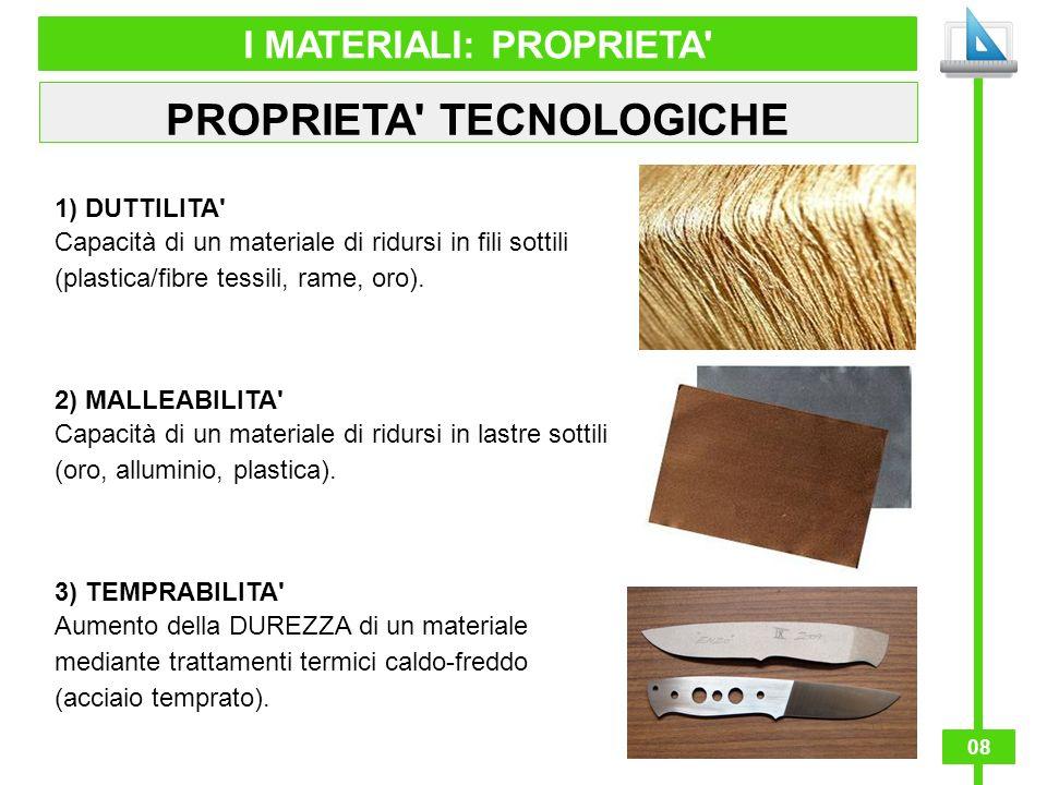 08 I MATERIALI: PROPRIETA' PROPRIETA' TECNOLOGICHE 1) DUTTILITA' Capacità di un materiale di ridursi in fili sottili (plastica/fibre tessili, rame, or