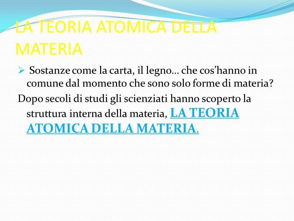 GLI ATOMI E LE MOLECOLE Qualsiasi sostanza è formata da tante particelle elementari chiamate atomi.