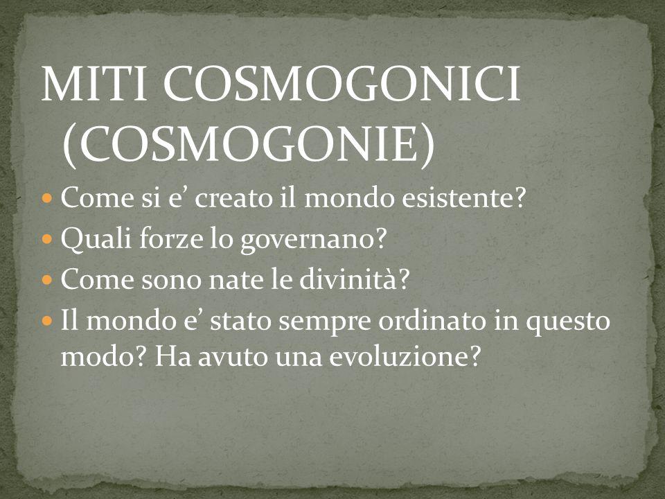 MITI COSMOGONICI (COSMOGONIE) Come si e' creato il mondo esistente.