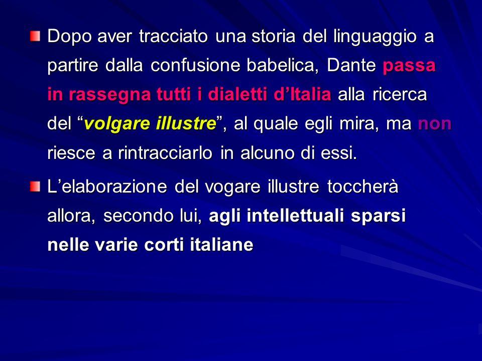 Dopo aver tracciato una storia del linguaggio a partire dalla confusione babelica, Dante passa in rassegna tutti i dialetti d'Italia alla ricerca del volgare illustre , al quale egli mira, ma non riesce a rintracciarlo in alcuno di essi.