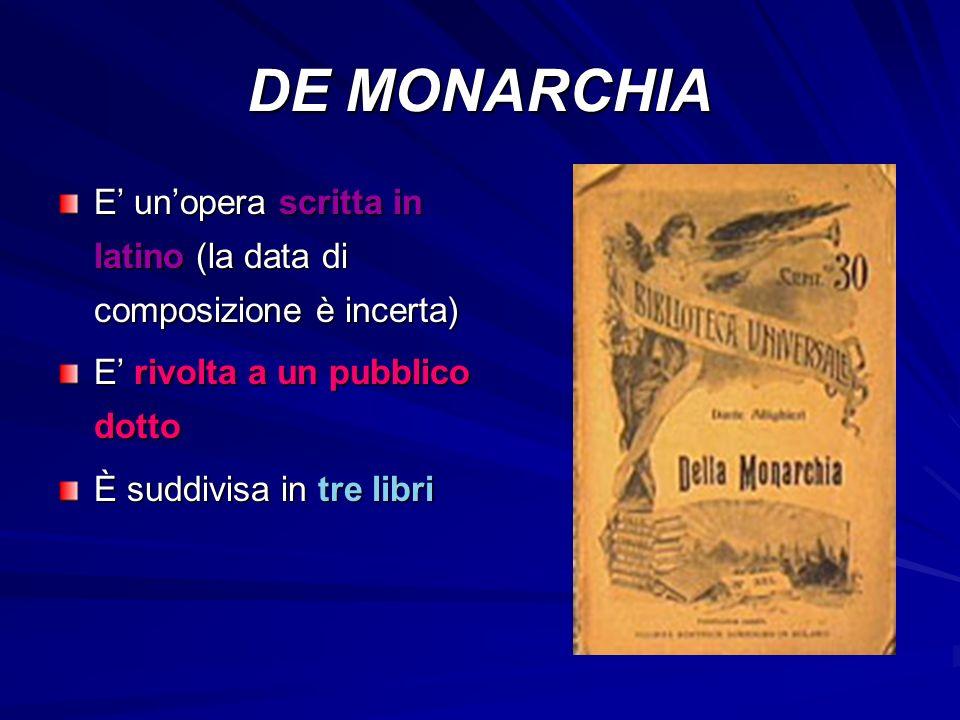 DE MONARCHIA E' un'opera scritta in latino (la data di composizione è incerta) E' rivolta a un pubblico dotto È suddivisa in tre libri