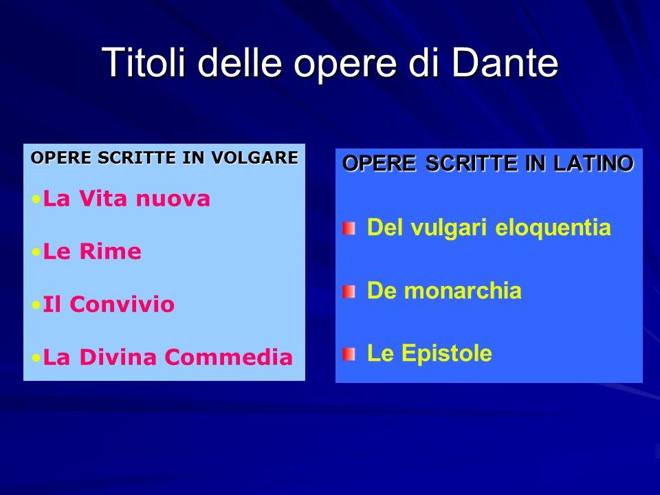 Titoli delle opere di Dante OPERE SCRITTE IN LATINO Del vulgari eloquentia De monarchia Le Epistole OPERE SCRITTE IN VOLGARE La Vita nuova Le Rime Il Convivio La Divina Commedia