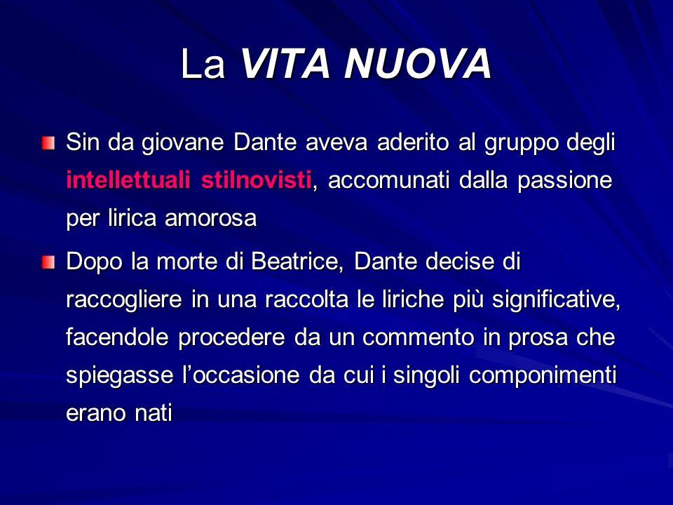 La VITA NUOVA Sin da giovane Dante aveva aderito al gruppo degli intellettuali stilnovisti, accomunati dalla passione per lirica amorosa Dopo la morte di Beatrice, Dante decise di raccogliere in una raccolta le liriche più significative, facendole procedere da un commento in prosa che spiegasse l'occasione da cui i singoli componimenti erano nati