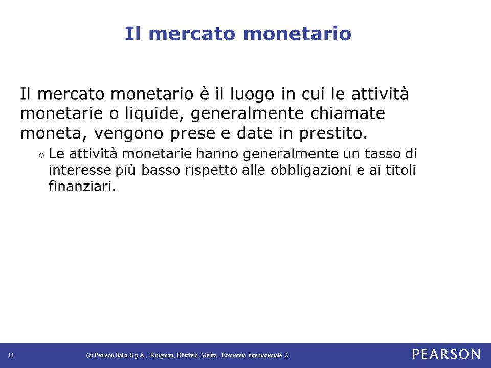 Il mercato monetario Il mercato monetario è il luogo in cui le attività monetarie o liquide, generalmente chiamate moneta, vengono prese e date in prestito.