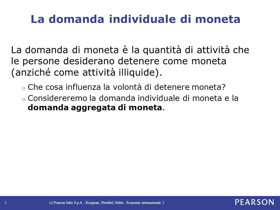 La domanda individuale di moneta La domanda di moneta è la quantità di attività che le persone desiderano detenere come moneta (anziché come attività illiquide).