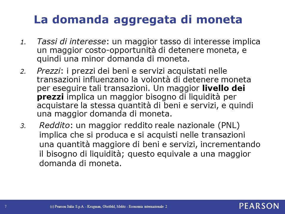 Un modello della domanda aggregata di moneta La domanda aggregata di moneta può essere espressa come: M d = P × L(R,Y) dove: P è il livello dei prezzi Y è il reddito reale nazionale R è una misura dei tassi di interesse L(R,Y) è la domanda aggregata reale di moneta Alternativamente: M d /P = L(R,Y) La domanda aggregata reale di moneta è una funzione del reddito nazionale e dei tassi di interesse.