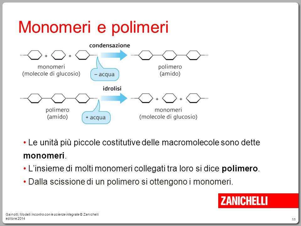 11 Monomeri e polimeri Le unità più piccole costitutive delle macromolecole sono dette monomeri. L'insieme di molti monomeri collegati tra loro si dic