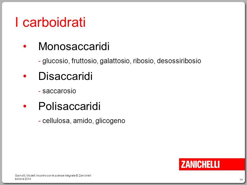 14 I carboidrati Monosaccaridi - glucosio, fruttosio, galattosio, ribosio, desossiribosio Disaccaridi - saccarosio Polisaccaridi - cellulosa, amido, g
