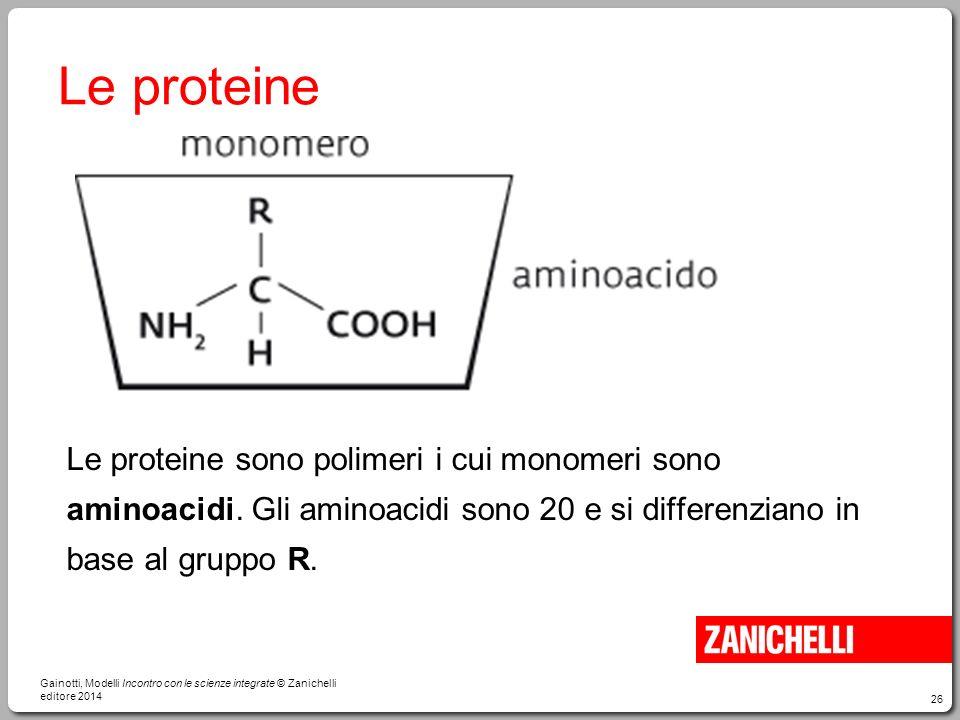 26 Le proteine Le proteine sono polimeri i cui monomeri sono aminoacidi. Gli aminoacidi sono 20 e si differenziano in base al gruppo R. Gainotti, Mode