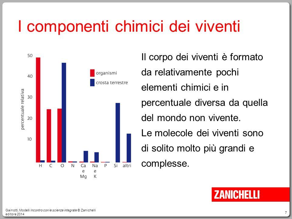 7 I componenti chimici dei viventi Il corpo dei viventi è formato da relativamente pochi elementi chimici e in percentuale diversa da quella del mondo