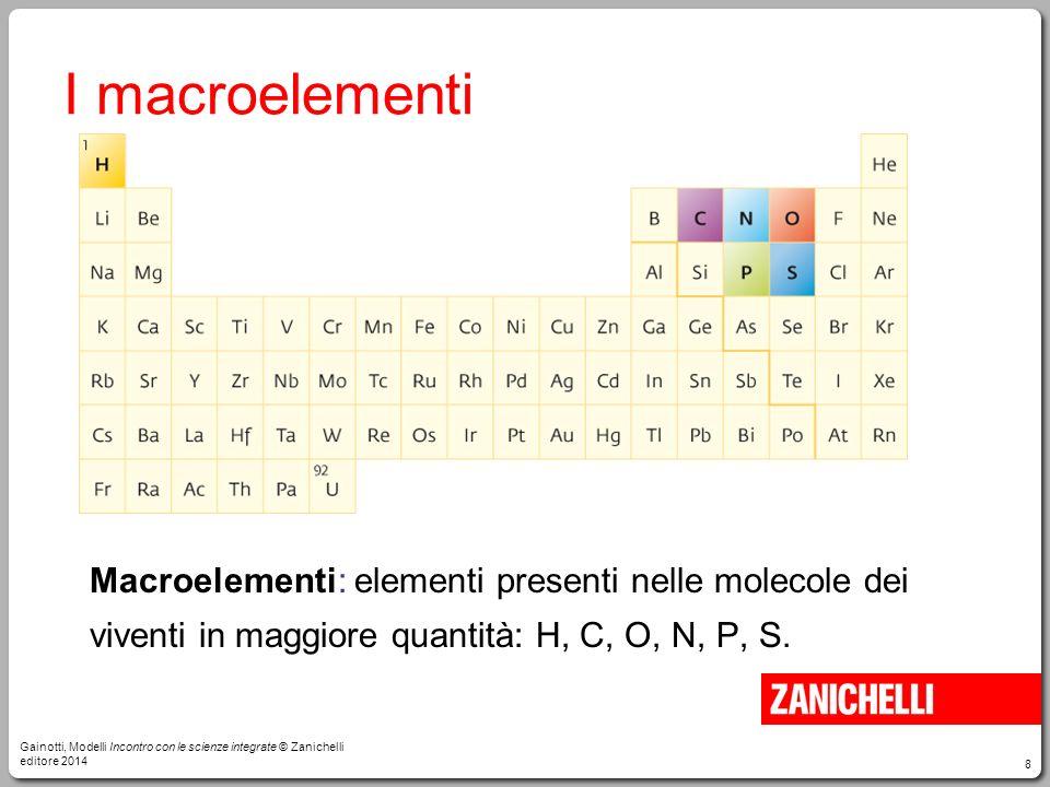 8 I macroelementi Macroelementi: elementi presenti nelle molecole dei viventi in maggiore quantità: H, C, O, N, P, S. Gainotti, Modelli Incontro con l