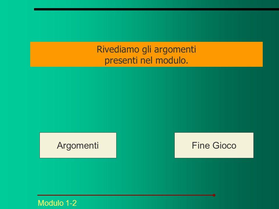 Modulo 1-2 Rivediamo gli argomenti presenti nel modulo. ArgomentiFine Gioco
