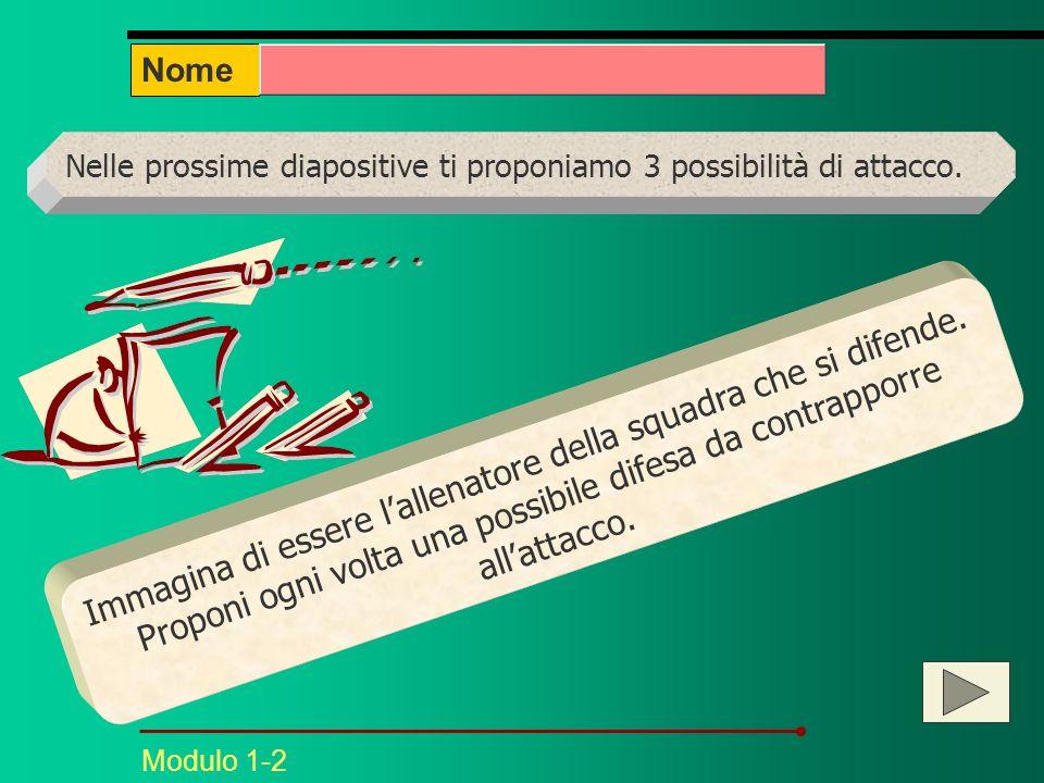 Nome Nelle prossime diapositive ti proponiamo 3 possibilità di attacco.