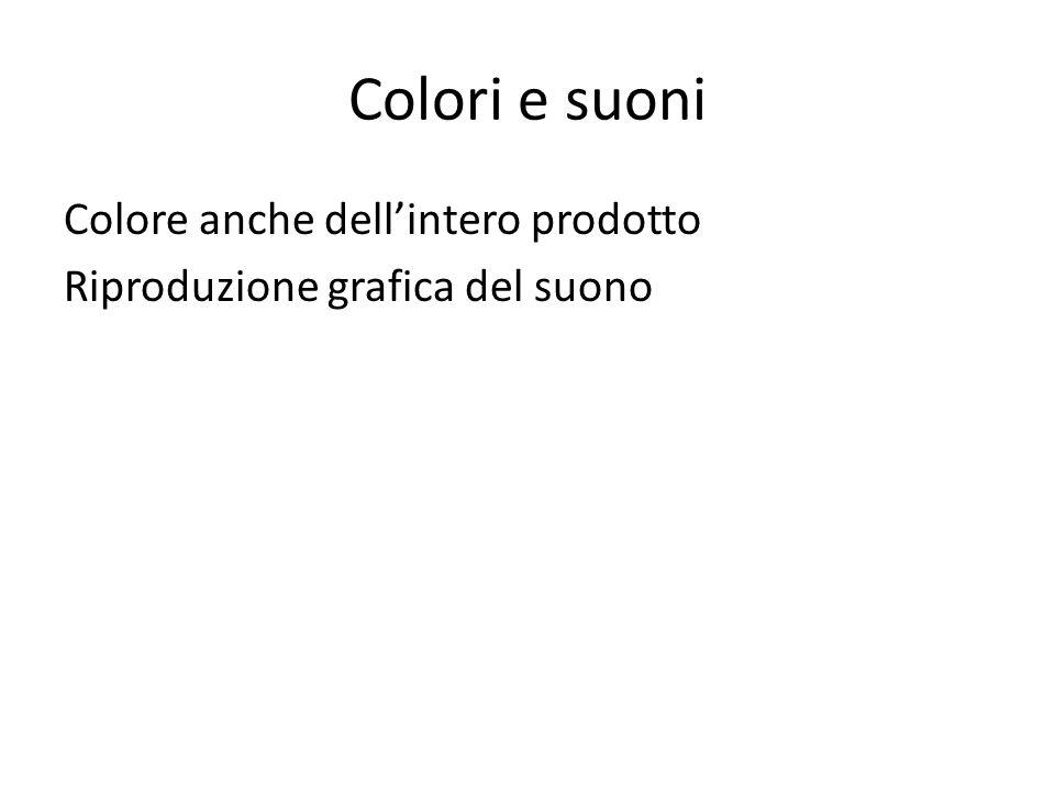 Colori e suoni Colore anche dell'intero prodotto Riproduzione grafica del suono