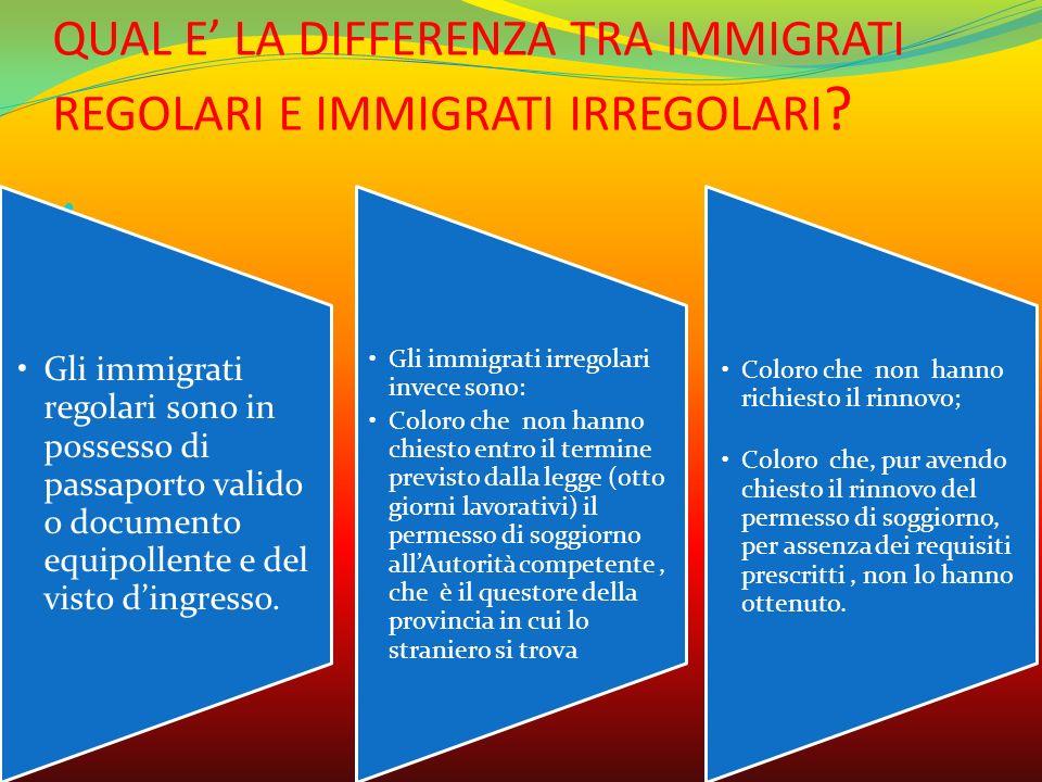 QUAL E' LA DIFFERENZA TRA IMMIGRATI REGOLARI E IMMIGRATI IRREGOLARI ? ; Gli immigrati regolari sono in possesso di passaporto valido o documento equip