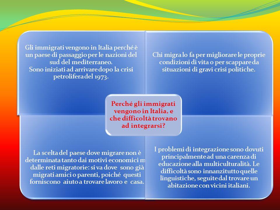 Gli immigrati vengono in Italia perché è un paese di passaggio per le nazioni del sud del mediterraneo. Sono iniziati ad arrivare dopo la crisi petrol