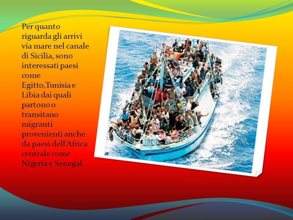 Per quanto riguarda gli arrivi via mare nel canale di Sicilia, sono interessati paesi come Egitto,Tunisia e Libia dai quali partono o transitano migra