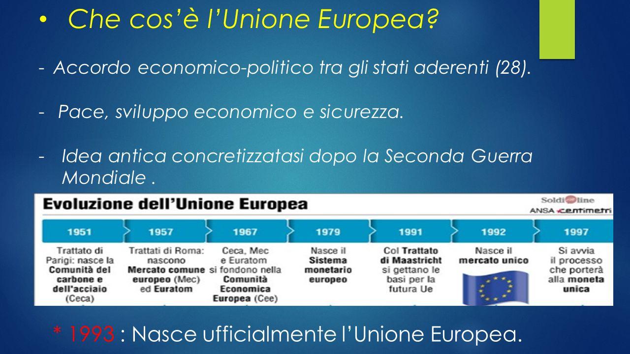 Che cos'è l'Unione Europea? -Accordo economico-politico tra gli stati aderenti (28). - Pace, sviluppo economico e sicurezza. -Idea antica concretizzat