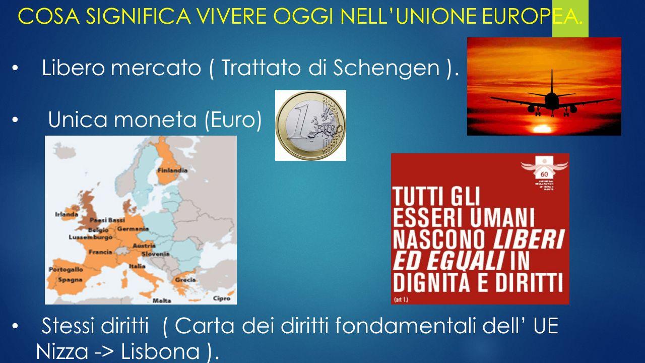 COSA SIGNIFICA VIVERE OGGI NELL'UNIONE EUROPEA. Libero mercato ( Trattato di Schengen ). Unica moneta (Euro) Stessi diritti ( Carta dei diritti fondam