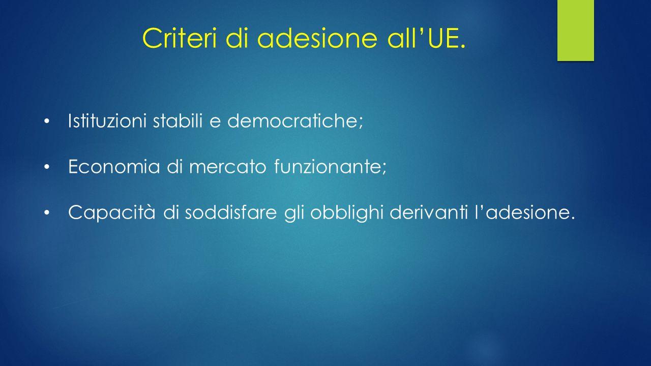 Criteri di adesione all'UE. Istituzioni stabili e democratiche; Economia di mercato funzionante; Capacità di soddisfare gli obblighi derivanti l'adesi