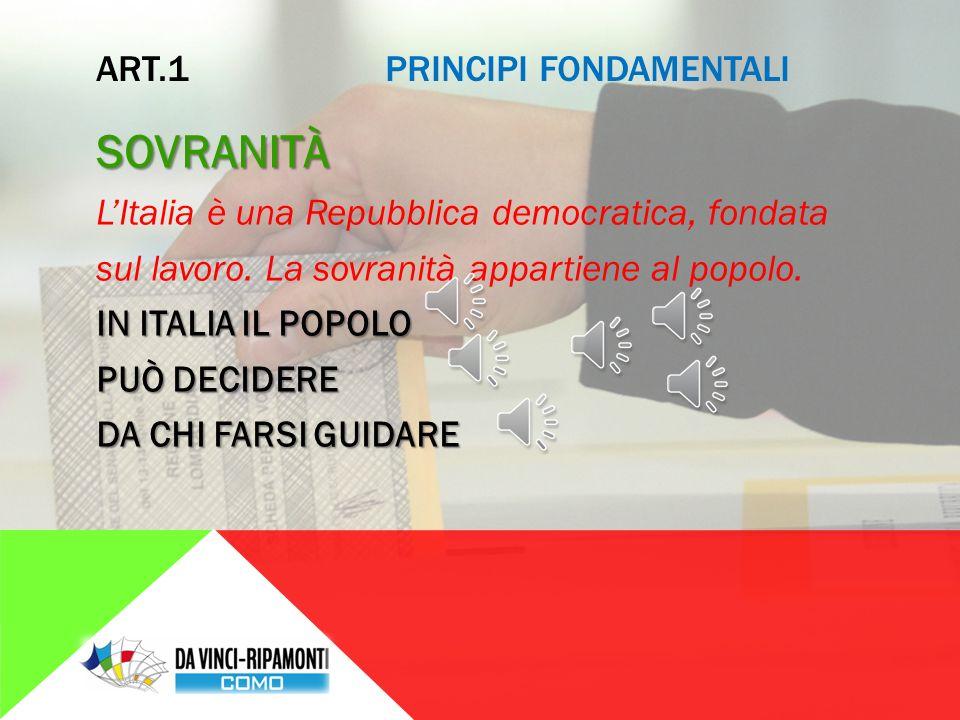 ARTICOLI DA 1 A 12: PRINCIPI FONDAMENTALI STABILISCONO I PRINCIPI ED I VALORI SU CUI SI FONDA LO STATO ITALIANO  DEMOCRAZIA  DIRITTI UMANI  UGUAGLIANZA  LAVORO  GIUSTIZIA  CULTURA  PACE