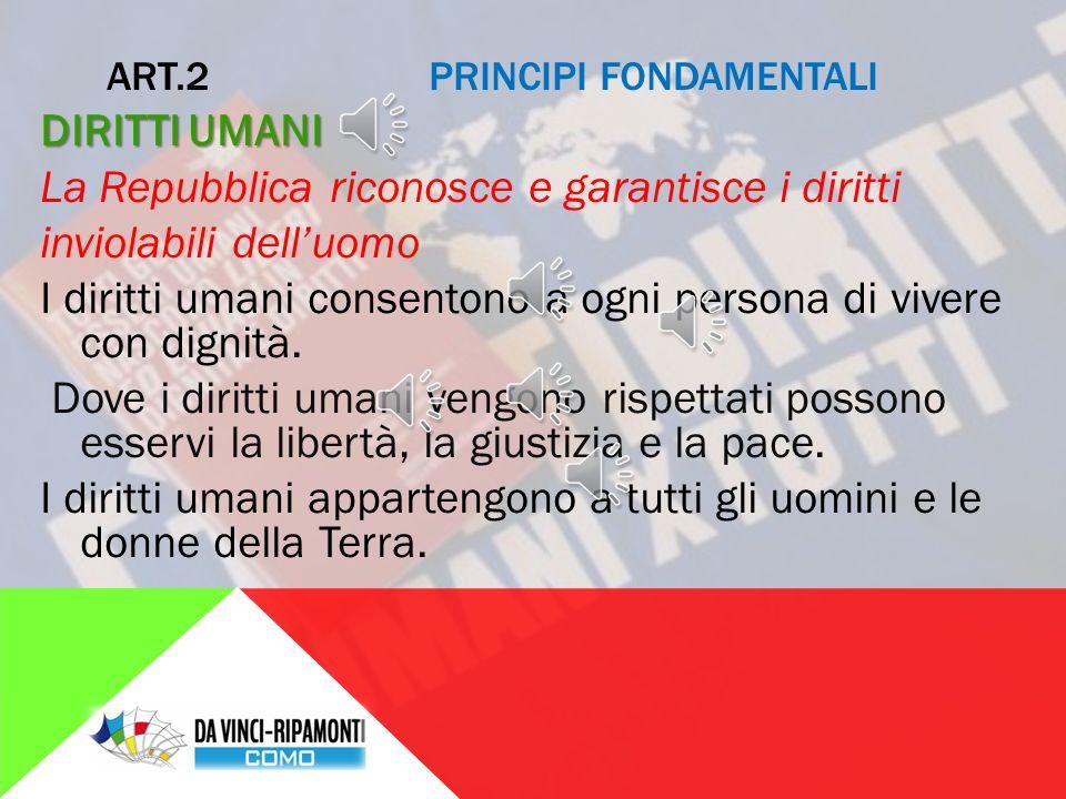 ART.1 PRINCIPI FONDAMENTALI SOVRANITÀ L'Italia è una Repubblica democratica, fondata sul lavoro.