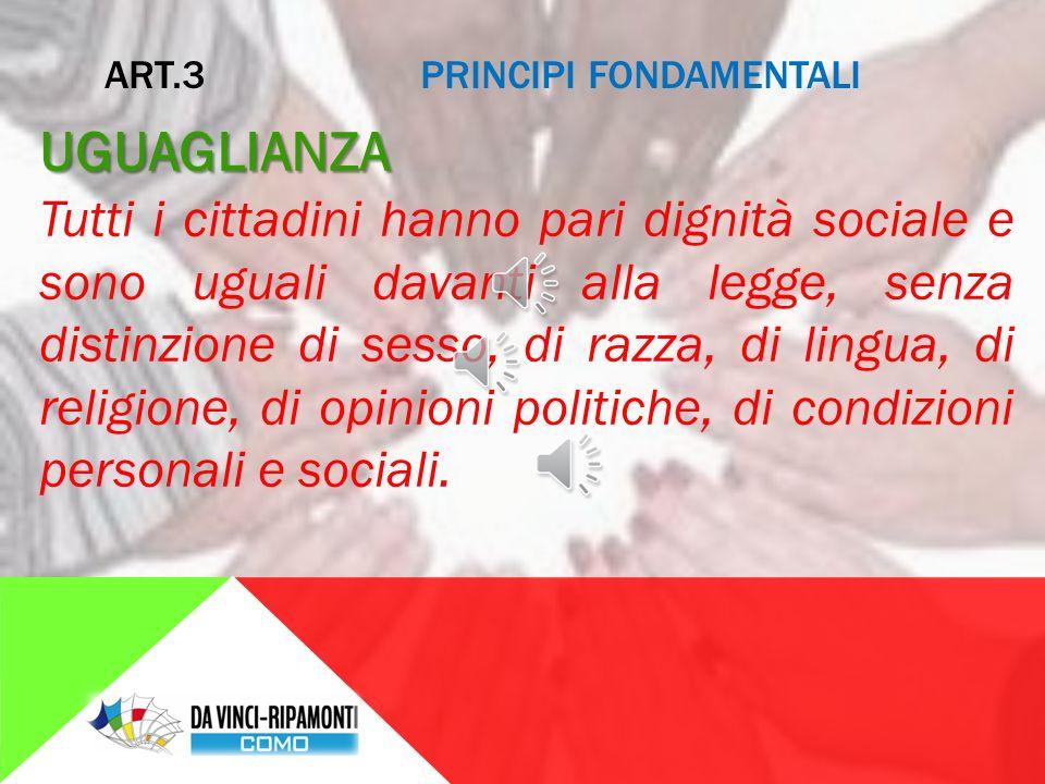 ART.2 PRINCIPI FONDAMENTALI DIRITTI UMANI La Repubblica riconosce e garantisce i diritti inviolabili dell'uomo I diritti umani consentono a ogni persona di vivere con dignità.