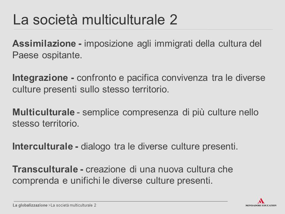 La società multiculturale 2 La globalizzazione >La società multiculturale 2 Assimilazione - imposizione agli immigrati della cultura del Paese ospitante.