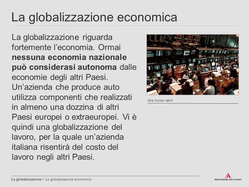La globalizzazione economica La globalizzazione > La globalizzazione economica La globalizzazione riguarda fortemente l'economia.