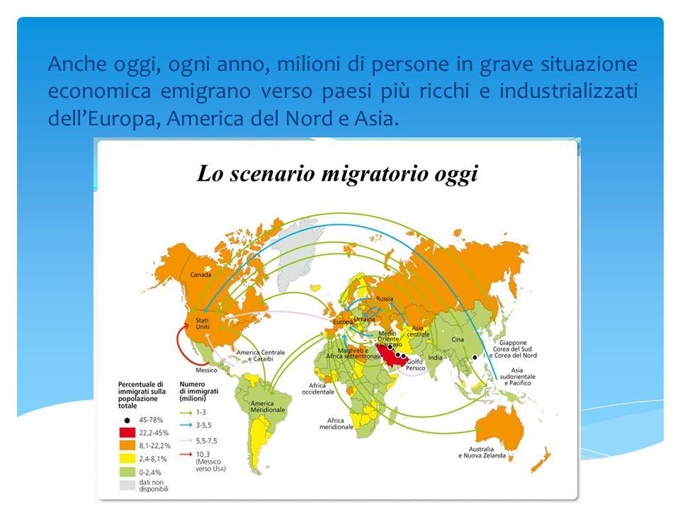 Anche oggi, ogni anno, milioni di persone in grave situazione economica emigrano verso paesi più ricchi e industrializzati dell'Europa, America del No